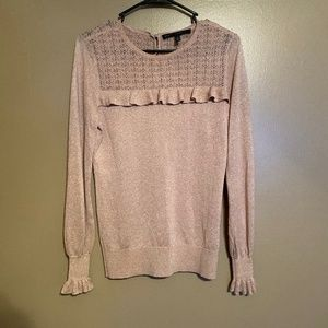 WHBM Pink + Gold Knit Sweater Sz Small